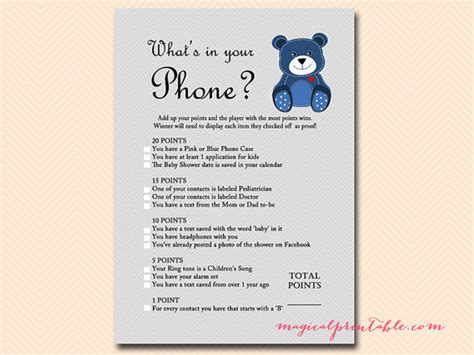 what s your phone what s in your phone baby shower phone
