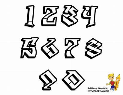 Graffiti Numbers Coloring Alphabet Pages Banksy Chart