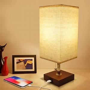Usb, Bedside, Table, Lamp, Seealle, Solid, Wood, Nightstand, Lamp