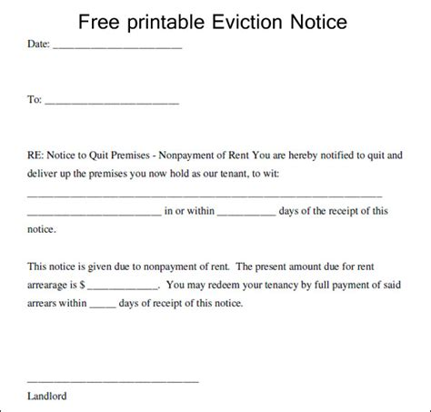 eviction notice notice of eviction form template business