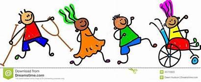 Disability Disabled Clip Clipart Friends Cartoon Children