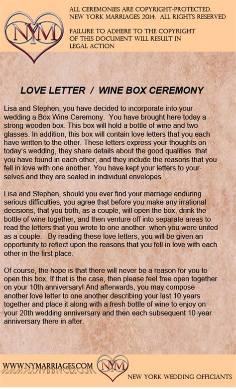 wine box love letter ceremony sample wedding ceremonies