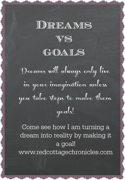 dreams vs goals red cottage chronicles