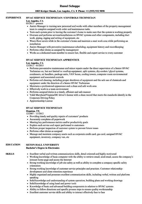 hvac service technician resume sles velvet jobs