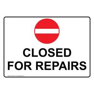 Bathroom Closed for Repairs Sign