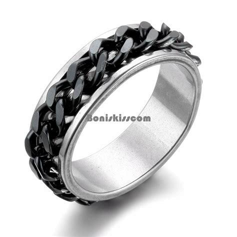 spinner mens stainless steel wedding ring  black