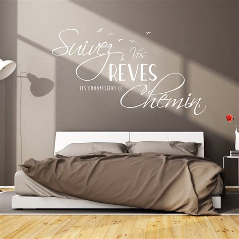sticker citation chambre sticker citation design suivez vos rêves stickers