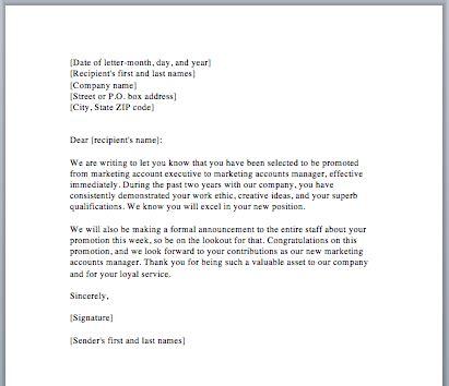 sample promotion letter smart letters