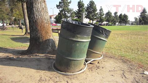 Public Park Commercial Outdoor Metal Trash Can Barrels For