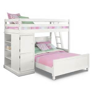 colorworks white ii kids furniture loft bed with full bed