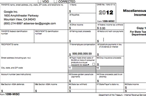 sending 1099 tax forms to adsense publishers