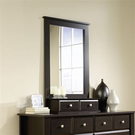 sauder shoal creek dresser in jamocha wood sauder shoal creek mirror jamocha wood finish walmart