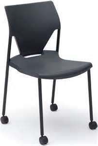arriva four leg stacking chair with casters black shell