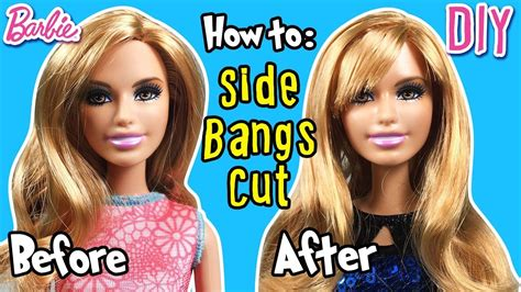 Cool Hairstyles For Barbies by How To Cut Side Bangs Using Doll Hair Diy
