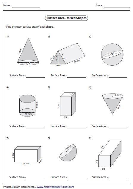 volume of 3d shapes worksheet free worksheets library