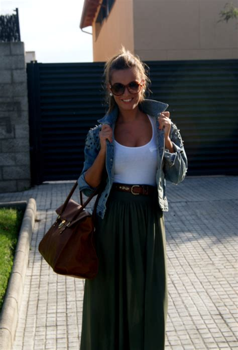 long skirts fall combinations maxi casual skirt denim jacket outfits stradivarius fashionable jean pull bear brown belt outfit tank summer