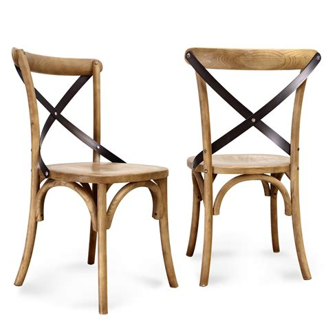 chaises rustiques joveco vintage style solid wood dining chair set of 2