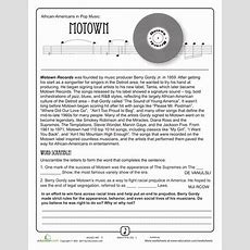 History Of Motown  Music Worksheets, Motown And Worksheets