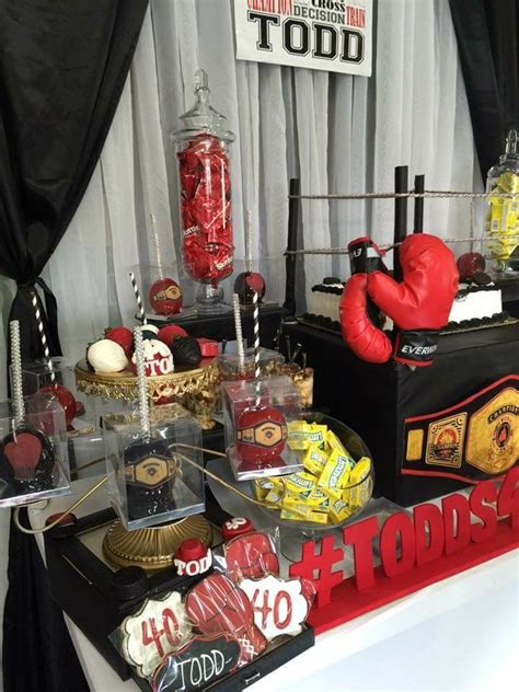 boxing theme dessert table  decor atdazzlingpartydesigns