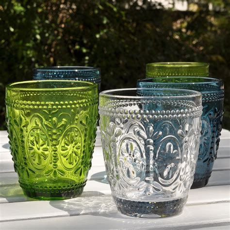 Coloured Pressed Glass Tumblers   furnish.co.uk