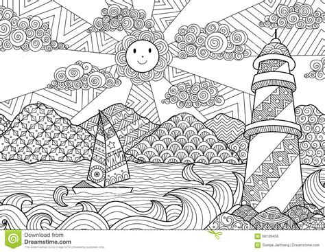 seascape line art design for coloring book for adult anti stress coloring stock stock vector