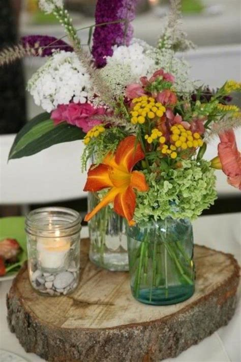 rustic wildflower centerpieces slab destination up fall wedding decorations