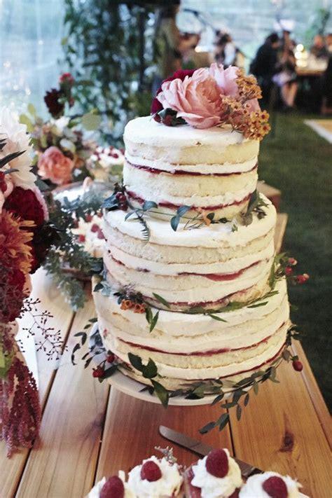 berry naked cake wedding party ideas  layer cake