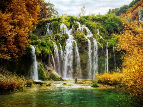 Wallpaper Waterfalls, Plitvice Lakes National Park, 4K