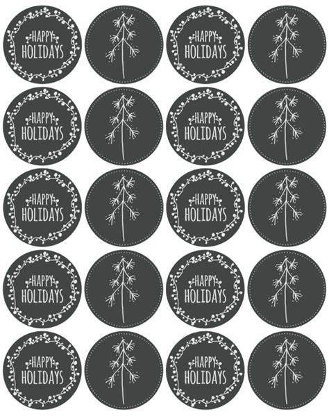 happy holiday label printables  catherine auger