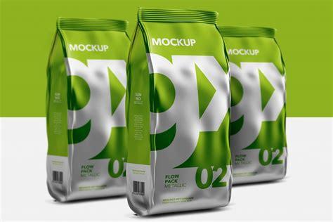 Opened kraft paper tube mockup 49909. Packreate » Flow Pack - Mockup - Metallic