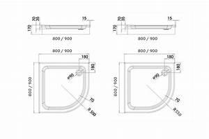 Acryl Viertelkreis Duschwanne KSB 20 80 x 80 x 6,5 cm weiß Radius 500 mm