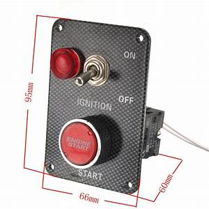 12v Racing Car Ignition Switch Kit Carbon Panel Toggle