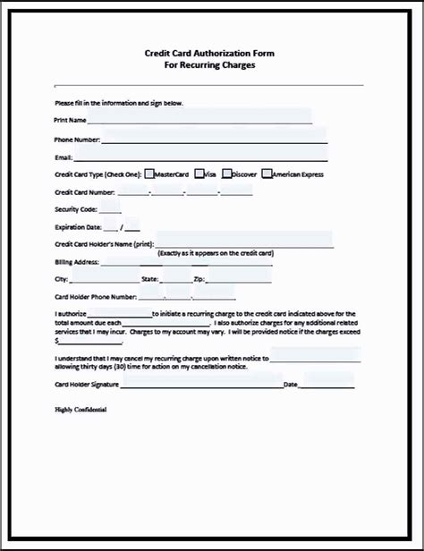 cc auth form recurring credit card authorization form template