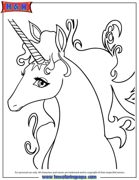 pretty cartoon unicorn drawing coloring page