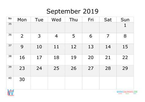 september  calendar  week numbers printable start