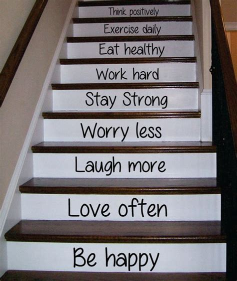 happy love  stairs decor decal sticker wall vinyl