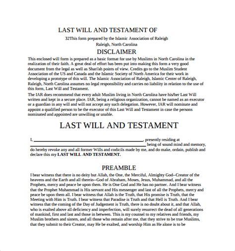 last will and testament template pdf 8 sle last will and testament forms sle templates