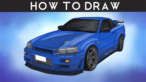 draw nissan skyline  gtr step  step youtube