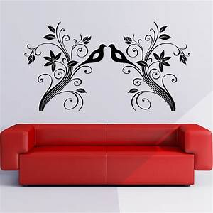 floral wall art stickers large vine leaf flower birds With wall art stickers