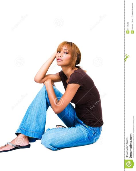Fashion Model Sitting On Floor Royalty Free Stock Images