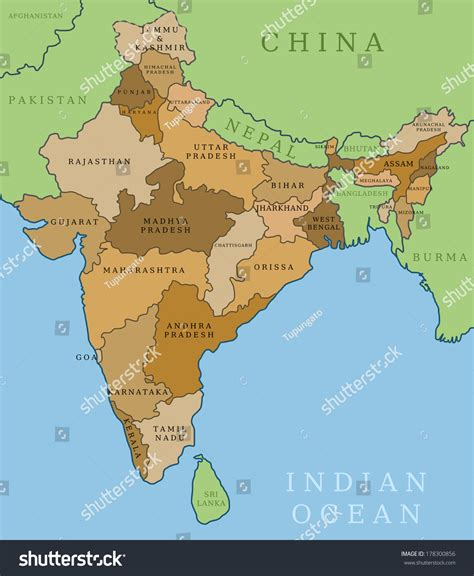 india map outline illustration country map stock