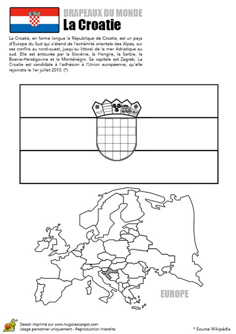 coloriage decouverte europe drapeau la croatie