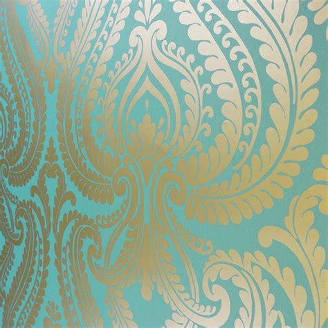 teal  gold wallpaper wallpapersafari