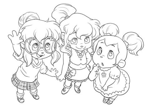 Cute Little The Chipettes Coloring Page