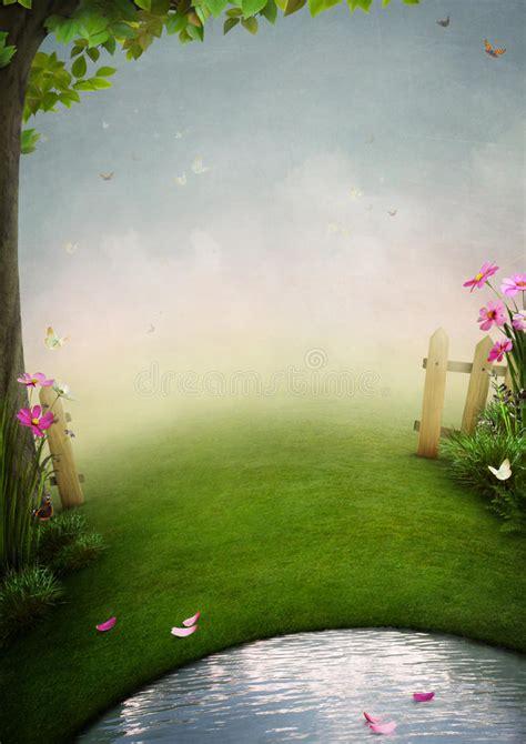 beautiful garden  pond stock illustration image