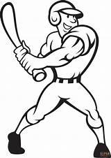 Coloring Baseball Player Pages Batting Side Main Printable Drawing Skip Games sketch template