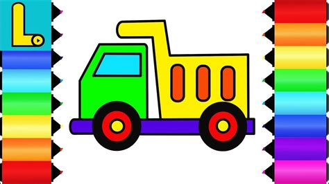 draw  color dump truck printable coloring