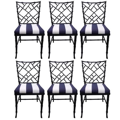 black bamboo style dining chairs set of six for sale at