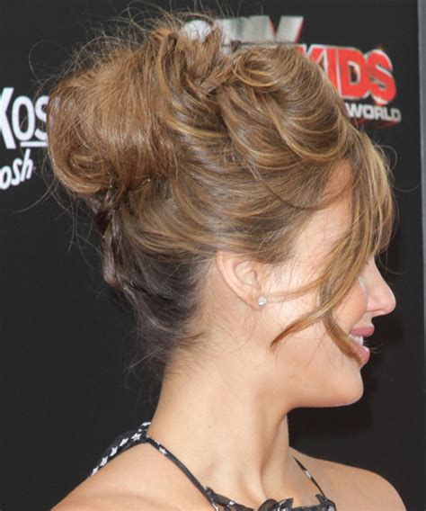 jessica alba long curly brunette updo  side swept