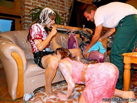 Rachel Evans Enjoys A Wet And Messy Gangbang Of